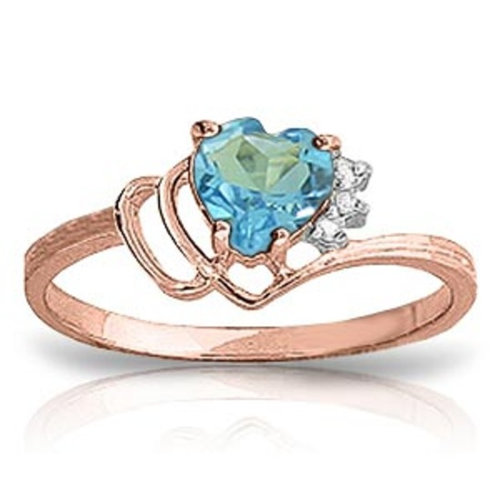 0.97 CTW 14K Solid Rose Gold Ring Natural Diamond Blue Topaz