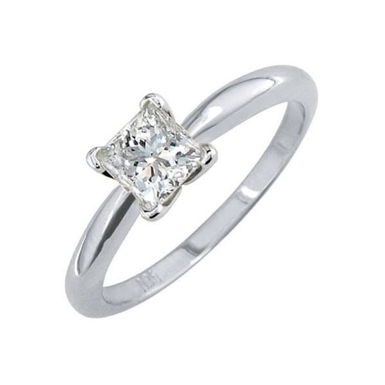 Certified 1.03 CTW Princess Diamond Solitaire 14k Ring G/SI2