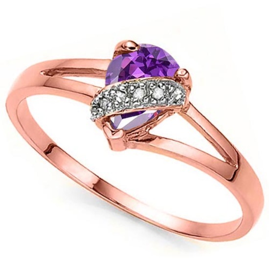 0.55 CTW GENUINE AMETHYST & GENUINE DIAMOND (6 PCS) 10KT SOLID RED GOLD RING-
