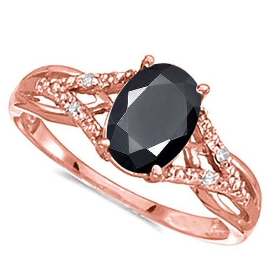 0.95 CARAT BLACK SAPPHIRE & 0.04 CTW DIAMOND 14KT SOLID RED GOLD RING