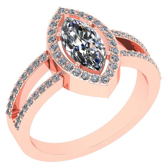 Certified 1.47 Ctw Marquise Diamond 14k Rose Gold Halo Ring