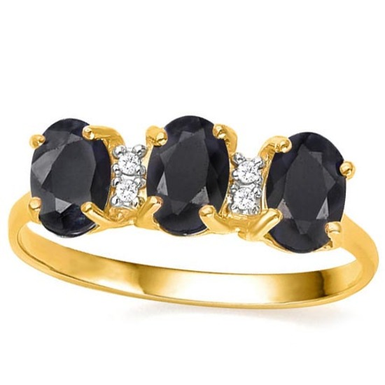 1.95 CTW GENUINE BLACK SAPPHIRE & GENUINE DIAMOND (4 PCS) 10KT SOLID YELLOW GOLD RING-
