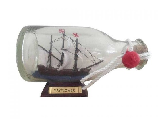 Mayflower Model Ship in a Glass Bottle 5in.
