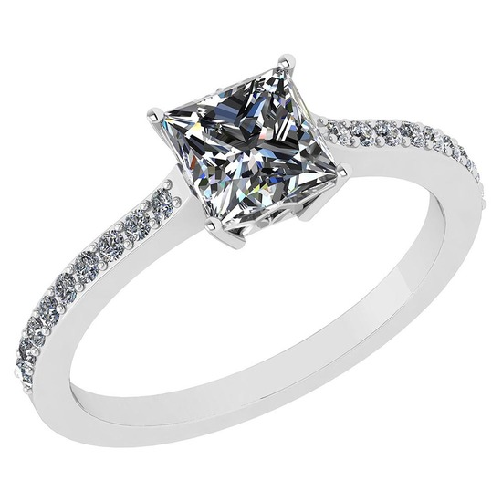 Certified .52 Ctw Princess Cut Diamond 14k White Gold Halo Ring