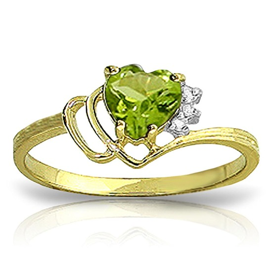 0.97 CTW 14K Solid Gold Ring Natural Diamond Peridot