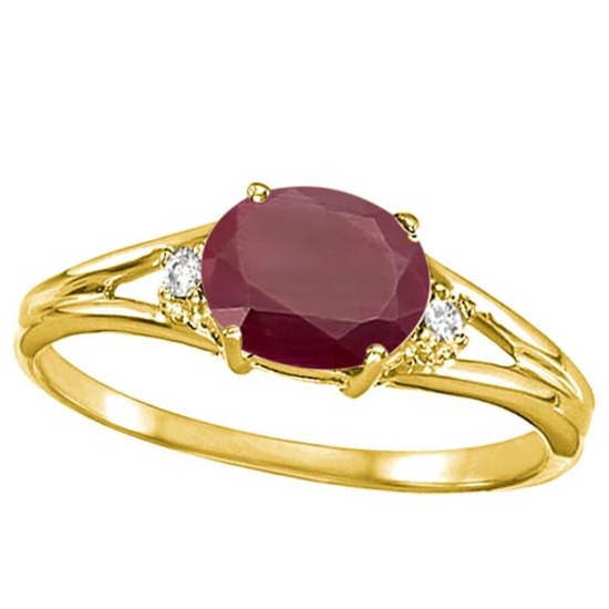 0.64 CARAT RUBY & 0.02 CTW DIAMOND 10KT SOLID YELLOW GOLD RING