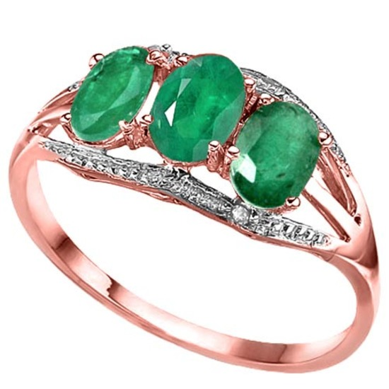 1.3 CTW GENUINE EMERALD & GENUINE DIAMOND (2 PCS) 10KT SOLID RED GOLD RING