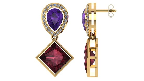 Certified 4.90 CTW Amethyst Garnet And Diamond 14K Yellow Gold Earring