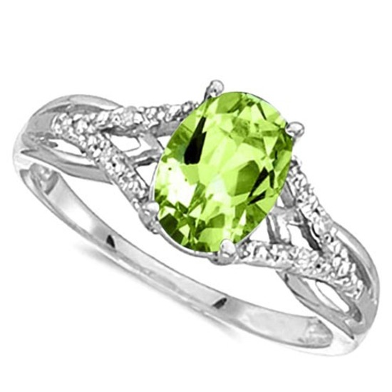 0.83 CARAT PERIDOT & 0.04 CTW DIAMOND 14KT SOLID WHITE GOLD RING