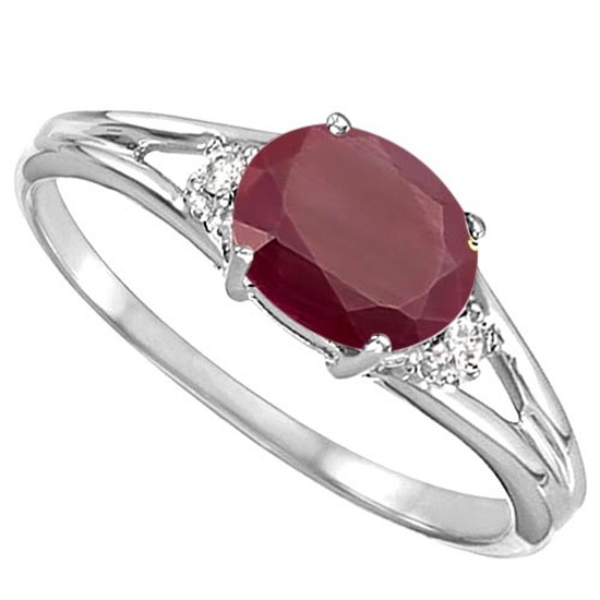 0.64 CARAT RUBY & 0.02 CTW DIAMOND 10KT SOLID WHITE GOLD RING