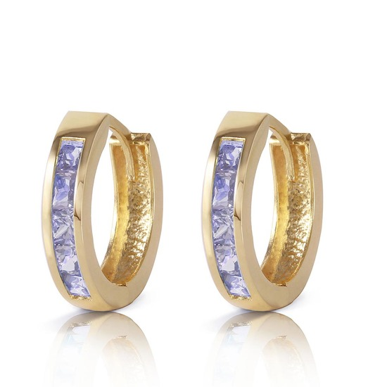 0.95 CTW 14K Solid Gold Huggie Hoop Earrings Tanzanite