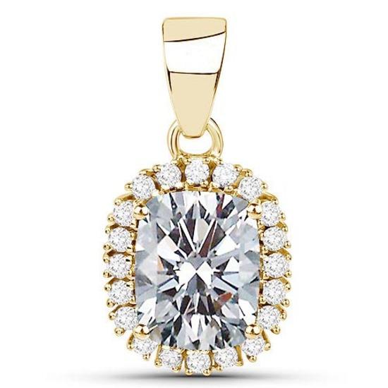 Certified 1.40 CTWCussion Diamond 14K Yellow Gold Pendant