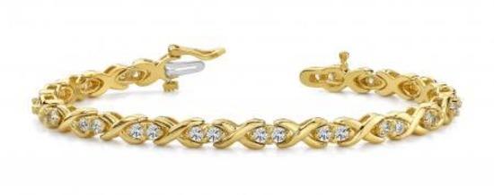 14K YELLOW GOLD 1.50 CTW G-H VS2/SI1 X LINK DIAMOND BRACELET