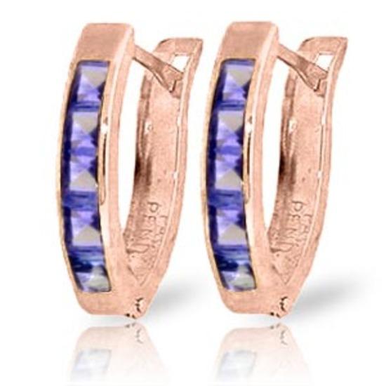 0.95 Carat 14K Solid Rose Gold Tanzanite Huggie Oval Earrings