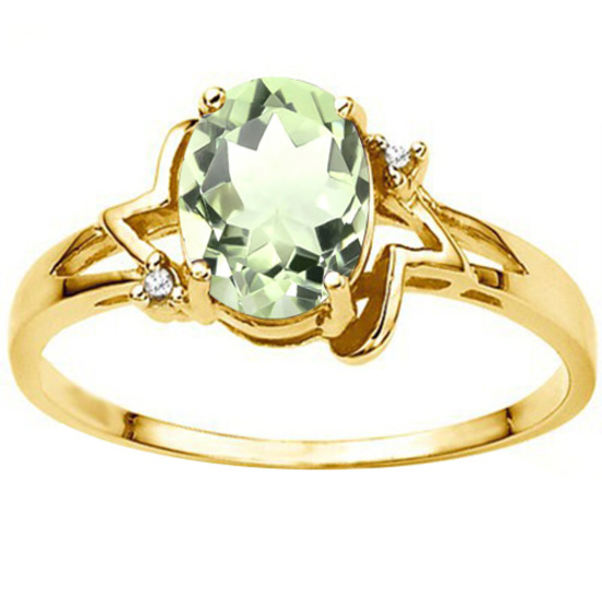 0.7 CT GREEN AMETHYST AND ACCENT DIAMOND 0.01 CT 10KT SOLID YELLOW GOLD RING