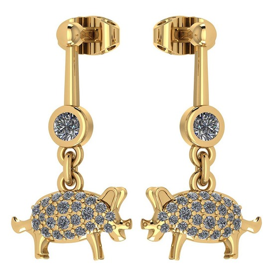 Certified 0.39 Ctw Diamond VS/SI1 Chinese Pig Earring 14K Yellow Gold