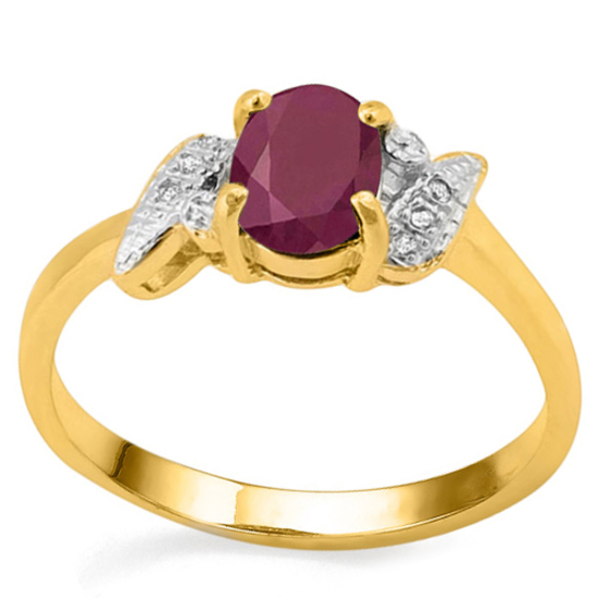 0.94 CT RUBY AND ACCENT DIAMOND 0.03 CT 10KT SOLID YELLOW GOLD RING