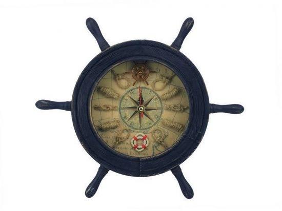 Wooden Rustic Dark Blue Ship Wheel Knot Faced Clock 12in.