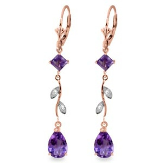 3.97 CTW 14K Solid Rose Gold Chandelier Earrings Natural Diamond Amethyst