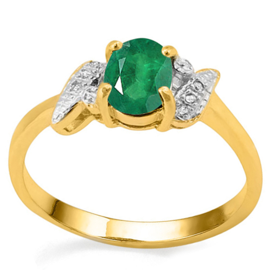 0.65 CT EMERALD AND ACCENT DIAMOND 0.03 CT 10KT SOLID YELLOW GOLD RING