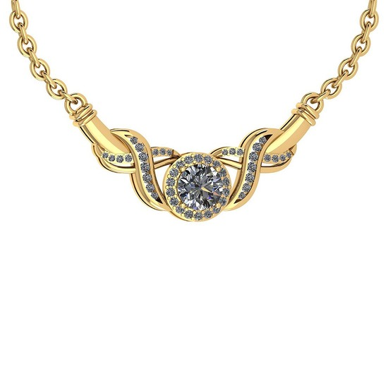 Certified 1.16 Ctw Diamond VS/I1 Necklace 14K Yellow Gold