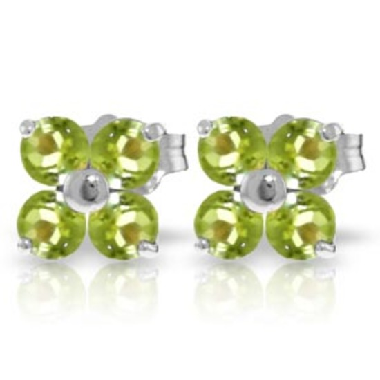 1.15 Carat 14K Solid White Gold Glimmering Smile Peridot Earrings