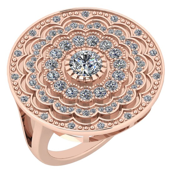 Certified 1.34 Ctw Diamond SI1/SI2 18K Rose Gold Ring Made In USA