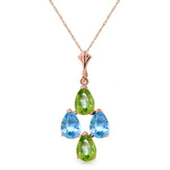 1.5 Carat 14K Solid Rose Gold Necklace Natural Blue Topaz Peridot