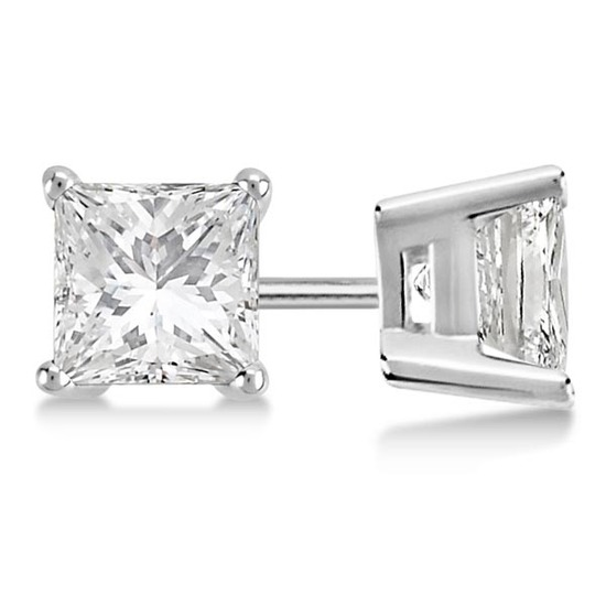 Certified 0.97 CTW Princess Diamond Stud Earrings H/SI1