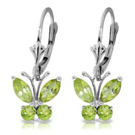 1.24 Carat 14K Solid White Gold Butterfly Earrings Peridot
