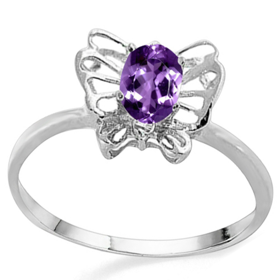 0.42 CT AMETHYST AND ACCENT DIAMOND 0.005 CT 10KT SOLID WHITE GOLD RING