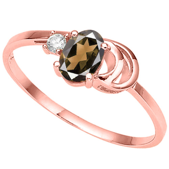 0.43 CT SMOKEY AND ACCENT DIAMOND 0.01 CT 10KT SOLID RED GOLD RING