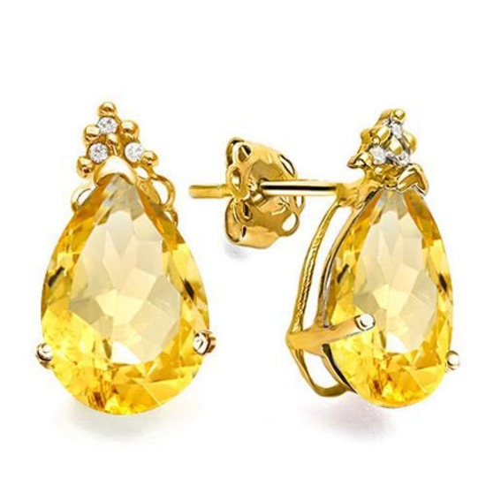 1.3 CARAT CITRINE 10K SOLID YELLOW GOLD PEAR SHAPE EARRING WITH 0.03 CTW DIAMOND