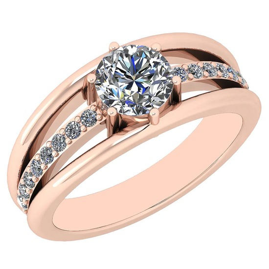 Certified 1.03 Ctw Diamond SI2/I1 18K Rose Gold Ring Made In USA