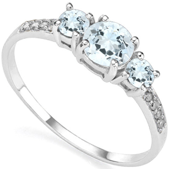 0.62 CT AQUAMARINE AND ACCENT DIAMOND 0.04 CT 10KT SOLID WHITE GOLD RING