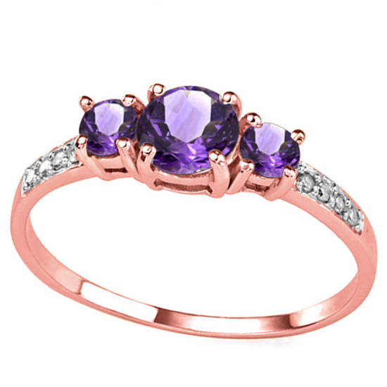 0.70 CT AMETHYST AND ACCENT DIAMOND 0.04 CT 10KT SOLID RED GOLD RING