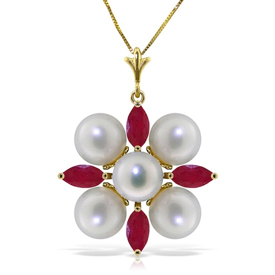 6.3 Carat 14K Solid Gold Necklace Ruby pearl