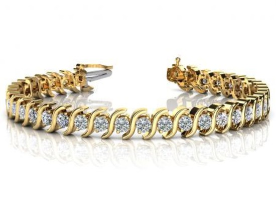 14K YELLOW GOLD .75 CTW G-H SI2/SI3 CLASSIC S SHAPED DIAMOND TENNIS BRACELET