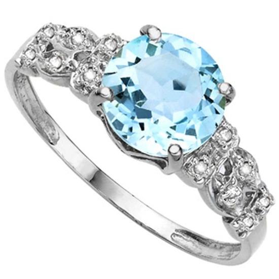 2.52 CTW GENUINE SKY BLUE TOPAZ & GENUINE DIAMOND (12 PCS) 10KT SOLID WHITE GOLD RING