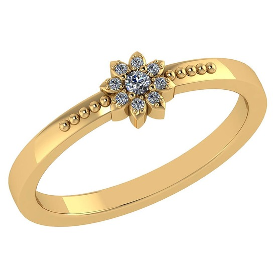 Certified .09 CTW Diamond And 14k Yellow Gold Simple Ring