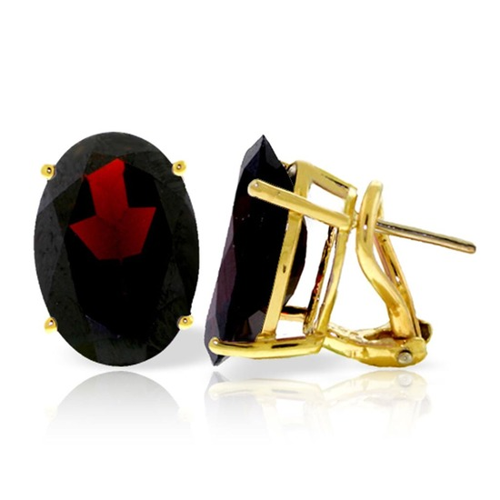 13 Carat 14K Solid Gold French Clips Earrings Natural Garnet