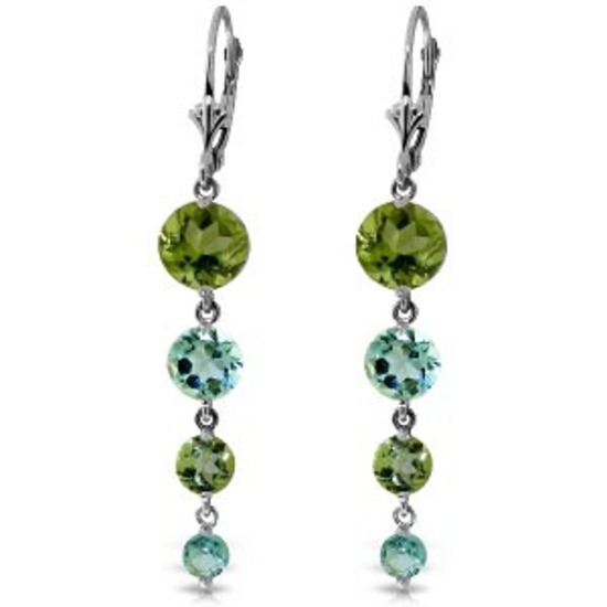 7.8 Carat 14K Solid White Gold Chandelier Earrings Peridot Blue Topaz