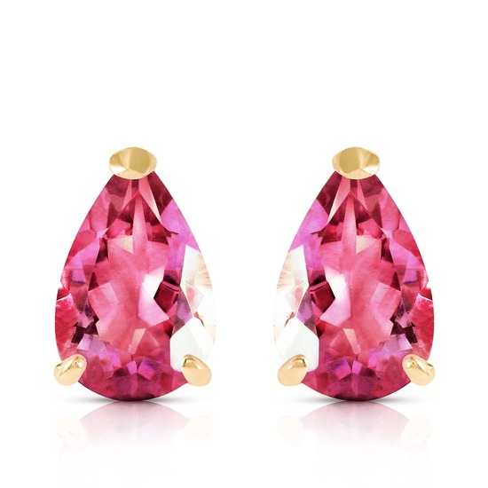 3.15 Carat 14K Solid Gold Gem Of A Woman Pink Topaz Earrings