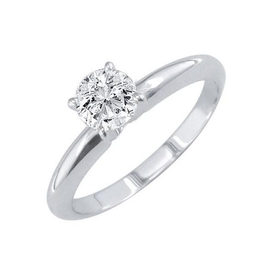 Certified 1.01 CTW Round Diamond Solitaire 14k Ring E/SI1