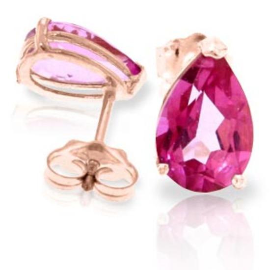 3.15 CTW 14K Solid Rose Gold Allure Pink Topaz Stud Earrings