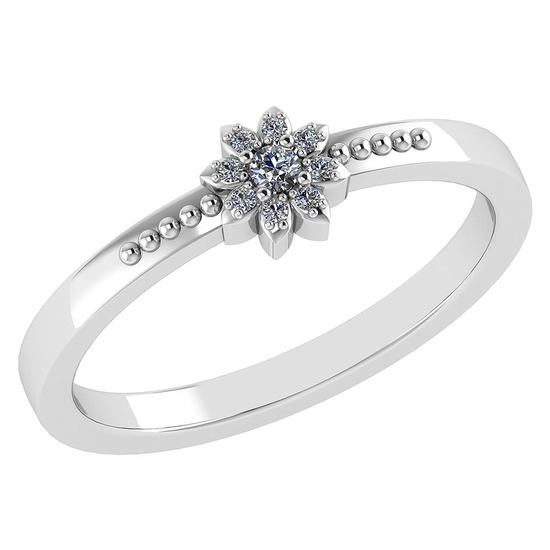 Certified .09 CTW Diamond And 14k White Gold Simple Ring