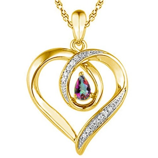 0.4 CARAT RAINBOW MYSTIC QUARTZ & CZ 14KT SOLID YELLOW GOLD PENDANT