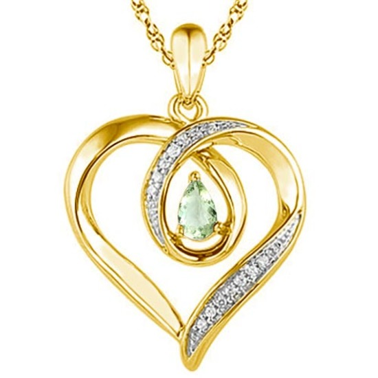 0.36 CARAT GREEN AMETHYST & CZ 14KT SOLID YELLOW GOLD PENDANT
