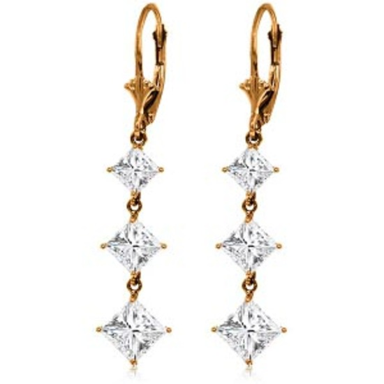 14K Solid Rose Gold Cubic Zirconia Leverback Chandelier Earrings