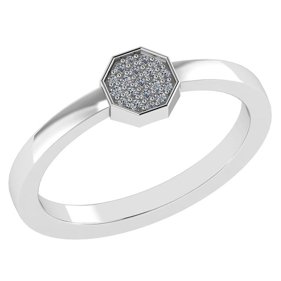 Certified .08 Ctw Diamond And 14k White Gold Simple Ring